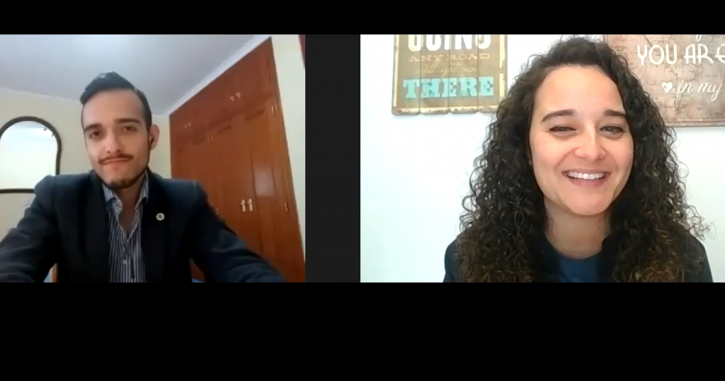 El psicólogo Juan Carlos Arancibia con la psicóloga Andrea Mezquida en un momento de la entrevista.