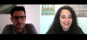 El psicólogo Pere Grimalt con la psicóloga Andrea Mezquida en un momento de la entrevista.