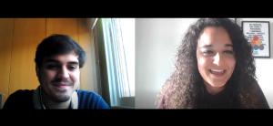 El psicólogo Pablo Pascual con la psicóloga Andrea Mezquida en un momento de la entrevista.